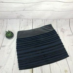 Rag & Bone Lamb Leather Blue & Black Fringe Skirt